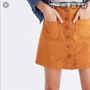 Madewell button down brown mustard skirt